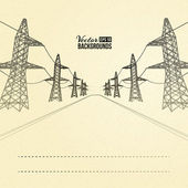 Electric pylons in perspective. — Stock Vector
