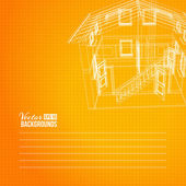 Wireframe of building — Stock Photo