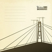 Suspension bridge in sepia. — Stock Vector