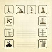 Sepia industrin ikoner — Stockvektor