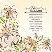 Brązowe tło z kwitnących lilii — Wektor stockowy