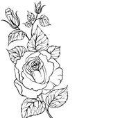 Black silhouette of rose. — Stock Vector