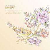 Cute watercolor bird. — Stock Vector