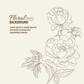 Peonies ink background — Vettoriale Stock