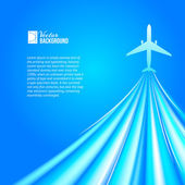 Airplane over blue background — Stock vektor