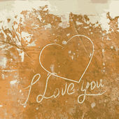 Te amo con el corazón en la pared de hormigón. — Vector de stock