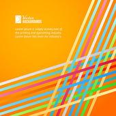 Linee arcobaleno sopra sfondo arancione. — Vettoriale Stock