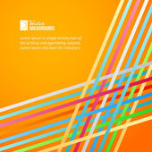 Rainbow lines over orange background. — Stock Vector