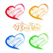 Abstract watercolor hearts set. — Stock Vector