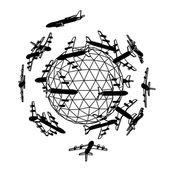 Globus mit flugzeug. — Stockvektor