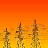 Elektrický pylonu při západu slunce — Stock vektor