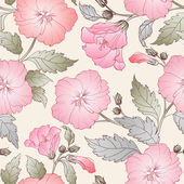Seamless pattern with hibiscus. — Stock Vector