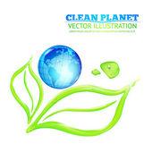 Globe on green leaves — Stockvektor
