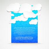 与蓝色图背景纸云. — 图库矢量图片
