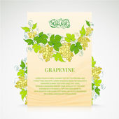 Wine list design with grapes decoration. — Vector de stock