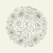Hand drawn bouquet of roses. — ストックベクタ