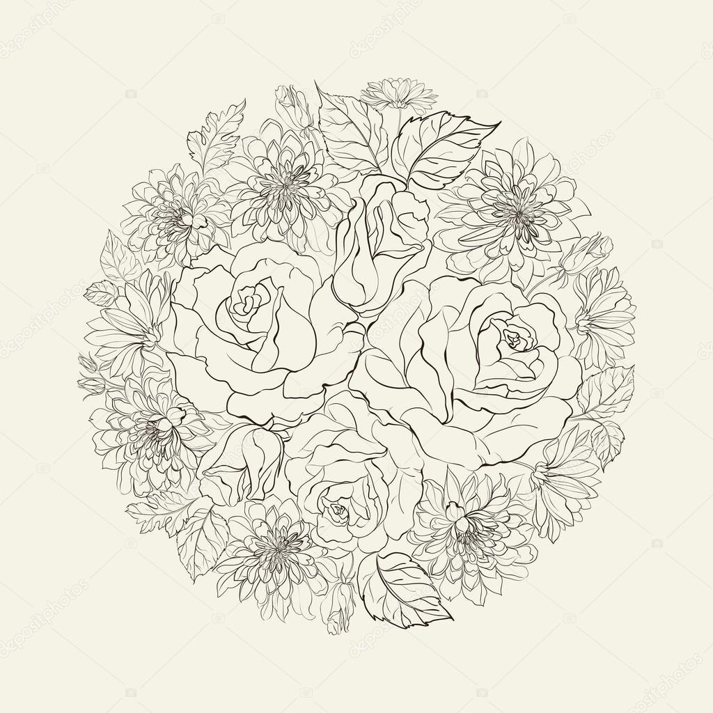 Rose Bouquet Drawing Hand Drawn Bouquet of Roses