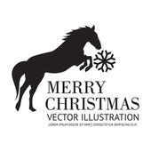 Black horse christmas background — Stock Vector