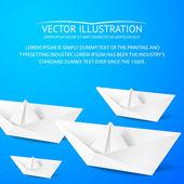 Papírových lodiček na modrém pozadí — Stock vektor