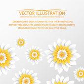 Papírové květiny pohlednice. — Stock vektor