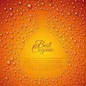 Flowing down drops of cognac in wineglass. — Stock Vector