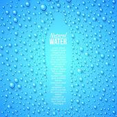бутылка и водных капель. — Cтоковый вектор