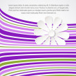 White flower on violet waves. — Stock Vector