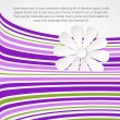 White flower on violet waves. — Imagen vectorial