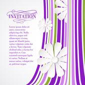 White flower on violet waves. — Stock Vector
