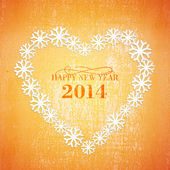 Grunge Christmas background in the orange heart — Stock Vector