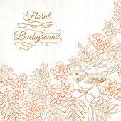 Background bush rowan and bird — ストックベクタ