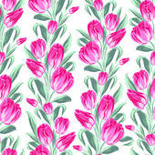 Seamless pattern with spring tulips for fabric. — Stock Vector
