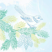 Bird on christmas fir and pinecone. — ストックベクタ