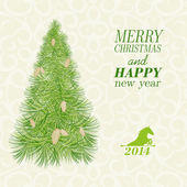 Christmas card with spruce and pinecone. — Vector de stock