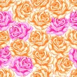 Seamless pattern with orange and pink roses. — Stock Vector