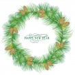 Garland of evergreen fir on white. — Stock Vector