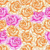 Seamless pattern with orange and pink roses. — Stockvektor