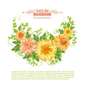 Chrysanthemum garland. — Stock Vector