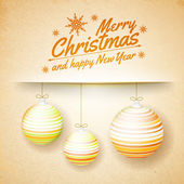 Christmas balls on a paper background — 图库矢量图片