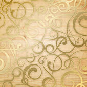 Golden abstract pattern on biege background. — Stockvektor