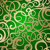 Gouden abstract patroon op groene achtergrond. — Stockvector