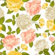 Roses seamless background. — Stock Vector