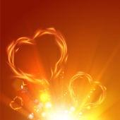 Fire love hearts. — Stock Vector