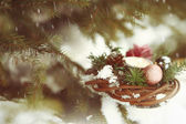 Christmas candle and wreath. — Stok fotoğraf