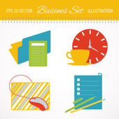 Business flat icons set. — Vector de stock