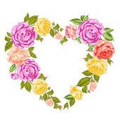 τριαντάφυλλα καρδιά πλαίσιο. — Διανυσματικό Αρχείο