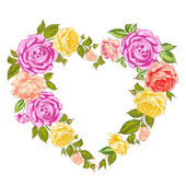 Roses heart frame. — Stock Vector