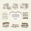Set of happy valentine's day hand lettering. — Stock Vector
