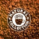 Premium quality coffee typography on blur background. — Stock Vector