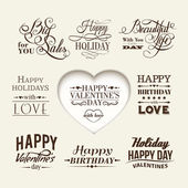Satz von happy Valentinstag Hand Schriftzug. — Stockvektor